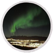 Northern Light In Troms, North Of Norway Round Beach Towel