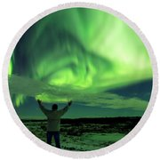 Northern Light In Western Iceland Round Beach Towel