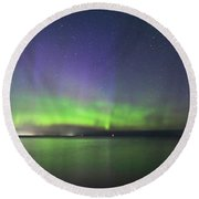 Northern Light With Perseid Meteor Round Beach Towel