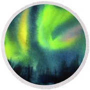 Round Beach Towel featuring the painting Northern Lights 3 by Kathy Braud