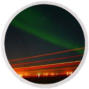 Northern Lights Round Beach Towel by Anthony Jones