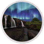 Northern Lights At Kirkjufellsfoss Waterfalls Iceland Round Beach Towel