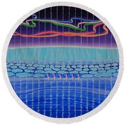 Northern Lights Ballet Production Round Beach Towel