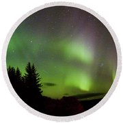 Northern Lights Curtains Round Beach Towel