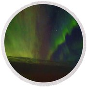 Northern Lights Or Auora Borealis Round Beach Towel by Allan Levin