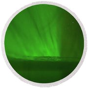 Northern Lights Over The North Atlantic Round Beach Towel by Allan Levin