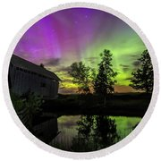 Northern Lights Reflection Round Beach Towel