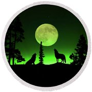 Northern Lights Round Beach Towel by Shane Bechler