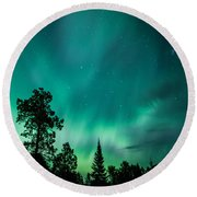 Northern Lights Tonight Round Beach Towel