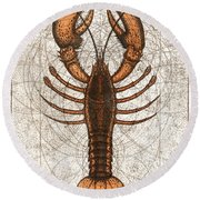 Northern Lobster Round Beach Towel by Charles Harden