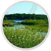 Northern Ontario 1 Round Beach Towel by Claire Bull
