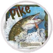 Round Beach Towel featuring the painting Northerrn Pike by John Dyess
