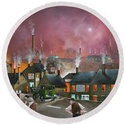 Round Beach Towel featuring the painting Northfield Road, Netherton by Ken Wood