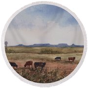 Round Beach Towel featuring the painting Northwest Oklahoma Cattle Country by Sam Sidders