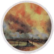 Round Beach Towel featuring the painting Northwest Oklahoma Wildfire by Sam Sidders