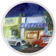 Northwood At Night Round Beach Towel by Donna Walsh