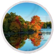 Northwood Lake Autumn Round Beach Towel
