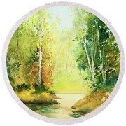 Northwoods Scene Round Beach Towel