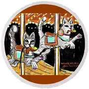 Norumbega Cats Round Beach Towel