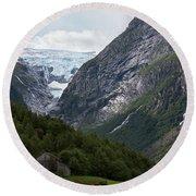 Norway Glacier Jostedalsbreen Round Beach Towel