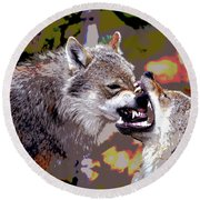 Norway Wolf Round Beach Towel by Charles Shoup