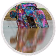 Round Beach Towel featuring the photograph Nose Dive by Stephen Stookey