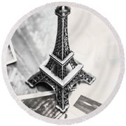 Nostalgia In France Round Beach Towel