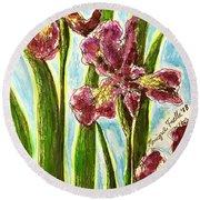 Nostalgic Irises Round Beach Towel