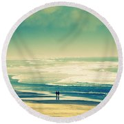 Nostalgic Oceanside Oregon Coast Round Beach Towel by Amyn Nasser