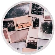 Nostalgic Photo Print Background Of A Collection Of Old Faded Sc Round Beach Towel