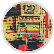 Nostalgic Tin Sign Robot Round Beach Towel