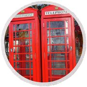 Not Quite Identical Twin Phone Boxes In Gibraltar Round Beach Towel