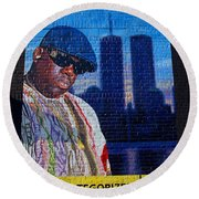 Notorious B.i.g. Round Beach Towel by  Newwwman