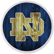 Notre Dame Barn Door Round Beach Towel