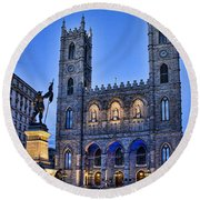 Notre Dame Basilica In Montreal At Dusk Round Beach Towel