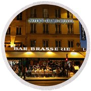 Round Beach Towel featuring the photograph Notre Dame Cafe by Andrew Fare