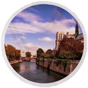 Round Beach Towel featuring the photograph Notre Dame Cathedral And The River Seine - Paris by Barry O Carroll