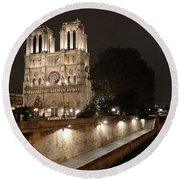 Notre Dame Cathedral From Petit Pont Round Beach Towel