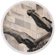 Round Beach Towel featuring the photograph Notre Dame Cathedral Gargoyles by Christopher Kirby