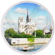 Notre Dame Cathedral, Paris France Round Beach Towel