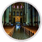 Round Beach Towel featuring the photograph Notre Dame Cathedral Saigon by Joseph Hollingsworth