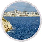 Notre Dame De La Garde Marseille  Round Beach Towel