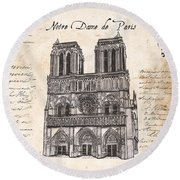 Notre Dame De Paris Round Beach Towel by Debbie DeWitt
