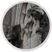 Round Beach Towel featuring the photograph Notre Dame Grotesques by Christopher Kirby