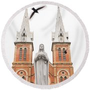 Notre Dame Ho Chi Minh City Round Beach Towel by For Ninety One Days