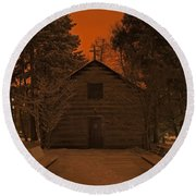 Notre Dame Log Chapel Winter Night Round Beach Towel