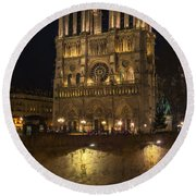 Notre Dame Night Painterly Round Beach Towel