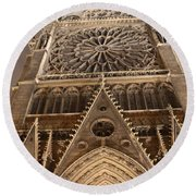 Round Beach Towel featuring the photograph Notre Dame North by Christopher Kirby