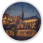 Notre Dame On The Seine Textured Round Beach Towel