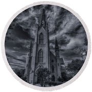 Round Beach Towel featuring the photograph Notre Dame University Church by David Haskett